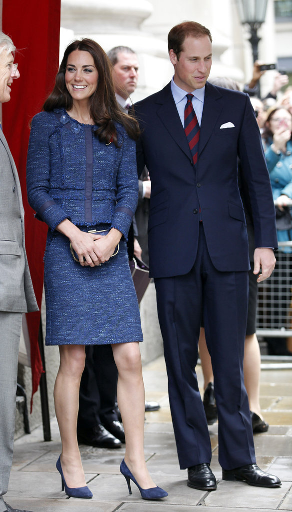 Prince William and his wife, Kate Middleton, arrived at Goldsmiths Hall for a royal reception honoring the Scott-Amundsen Centenary Race to the South Pole. For the event, Kate wore a blue suit from Rebecca Taylor with a brand-new English poppy brooch.