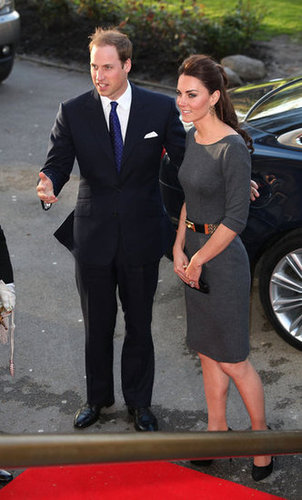 Prince William and Kate Middleton continued their busy week (pre-first-year wedding anniversary) with a royal appearance at the Imperial War Museum in London. Kate donned a gray Amanda Wakeley dress and Alexander McQueen belt for the occasion.