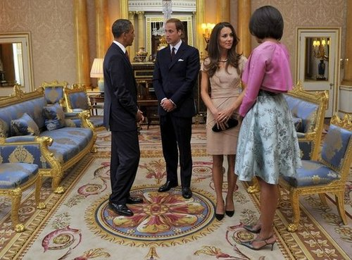 Barack and Michelle Obama met with Prince William and Kate Middleton at Buckingham Palace in May 2011.
