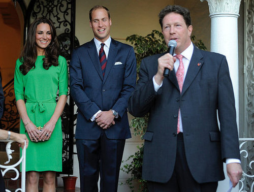 Kate and William were in LA last Summer, and she wore that green Diane von Furstenberg dress again. The first time she wore it, she was at Zara Phillips and Mike Tindall's rehearsal dinner.
