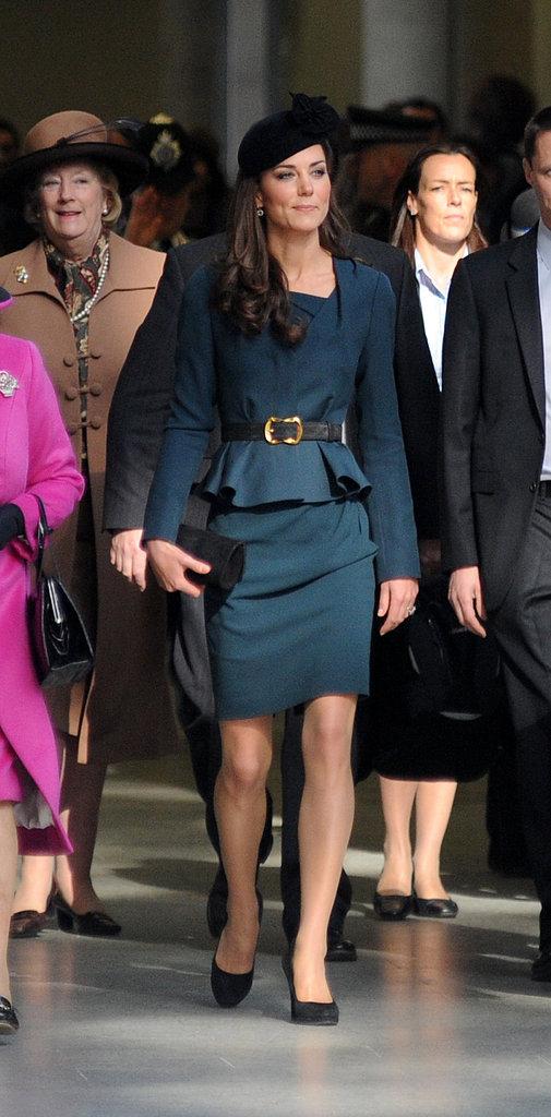 Kate wore a peplum skirt suit from LK Bennett, one of her favorite High Street shops, with Rupert Sanderson pumps.