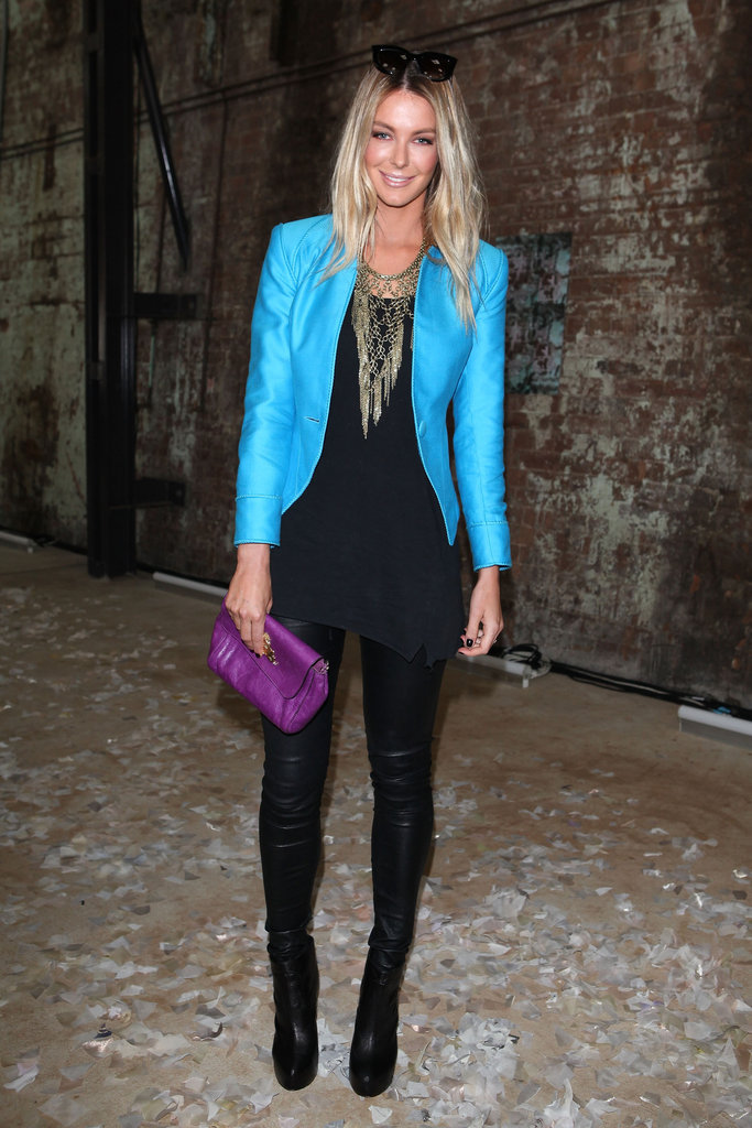 Jennifer Hawkins wore a bright blue jacket for Toni Maticevski in 2011.