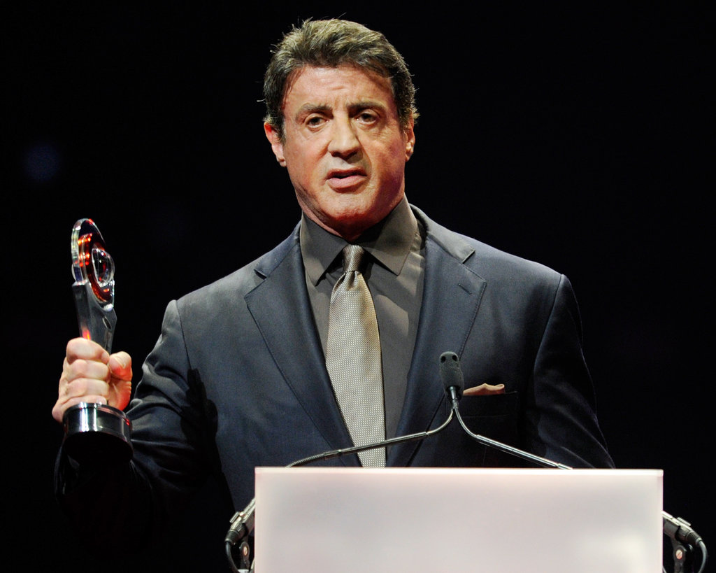 Sylvester Stallone was on stage to accept the career achievement award at the CinemaCon awards ceremony.
