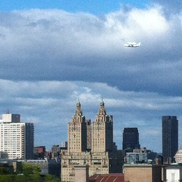 Space shuttle Enterprise over New York City.  Source: Instagram User paulieg7