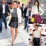 Get in on the pleated leather skirt trend.