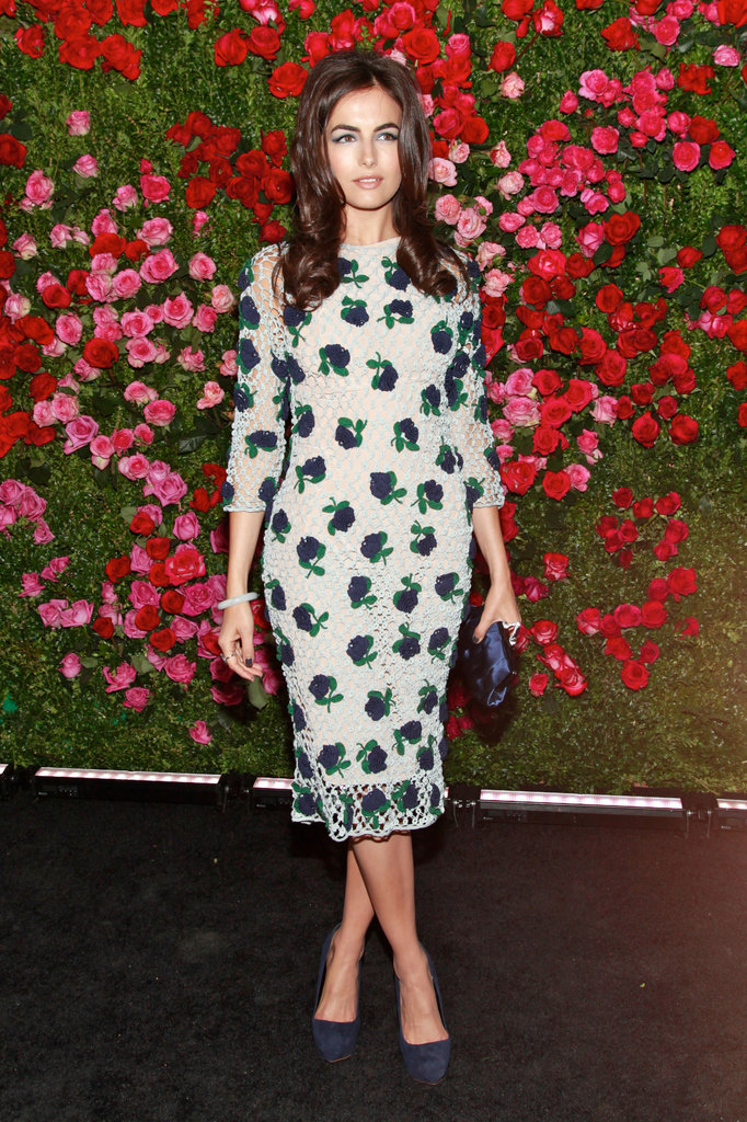 Camilla Belle was Spring perfection in a floral-adorned Prada dress.