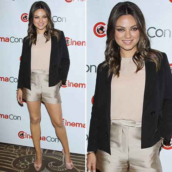 Let Mila Kunis inspire you to rock satin shorts.