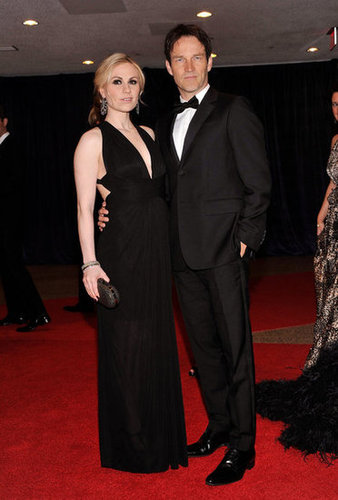 Parents-to-be Anna Paquin and Stephen Moyer posed together.