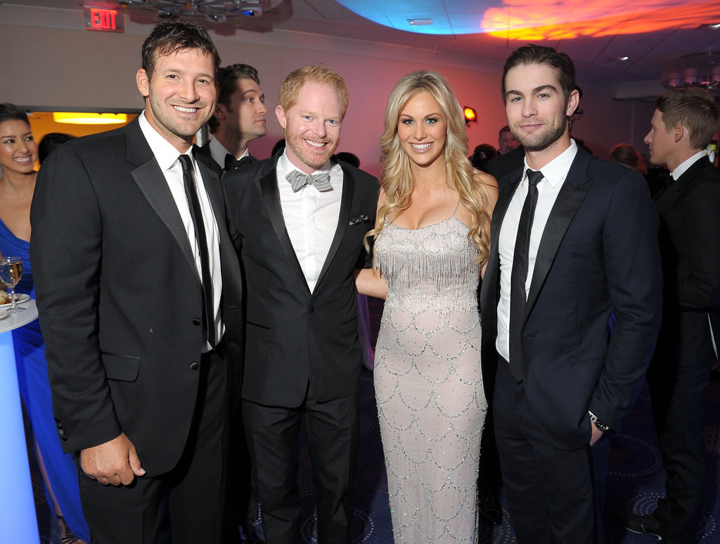 Tony Romo, Chace Crawford, Jesse Tyler Ferguson and Candice Crawford posed together.