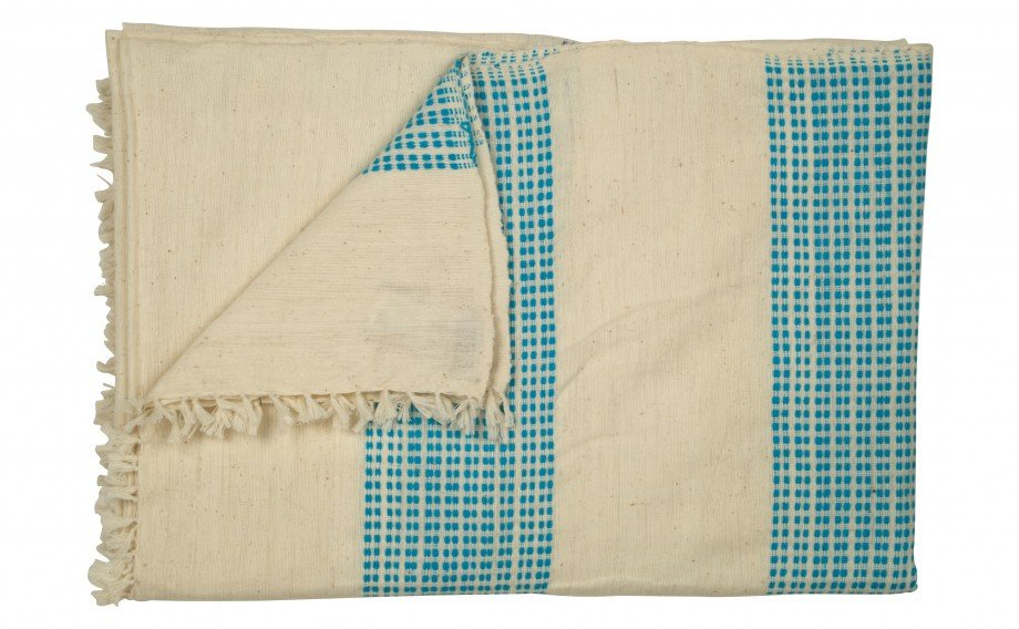 This Beach Blanket ($150) is made from woven cotton with aqua blue squares.