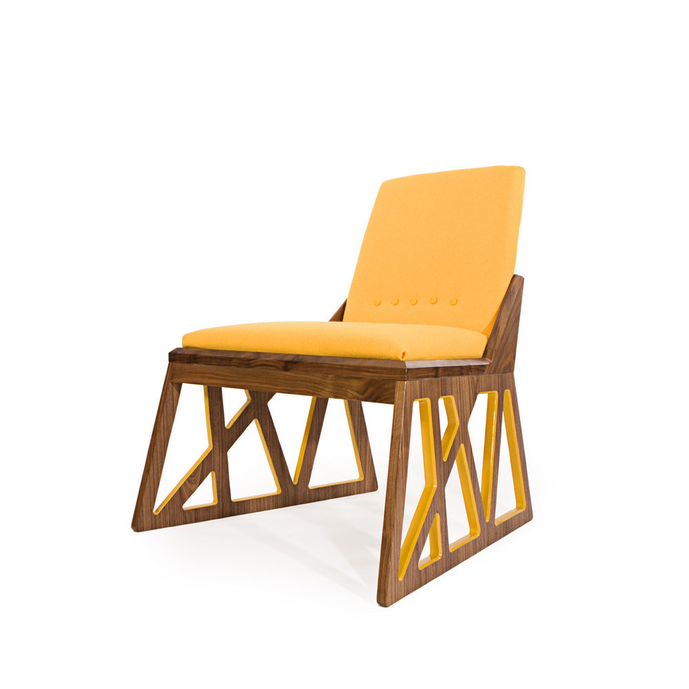 The showstopping Truss Lounge Chair ($2,800) from Meg O'Halloran Design was inspired by an interpretation of industrial truss structures like the SF Bay Bridge and the Chicago Loop.