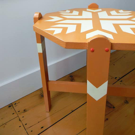 The Painted Side Table ($140) has a custom paint job featuring a traditional Scandinavian design.