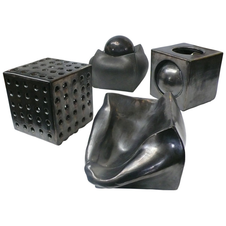"This Collection of 24 Ceramic ""Cubes"" by Kaiser Suidan ($15,000) range in form from geometric to biomorphic and are all signed and dated."