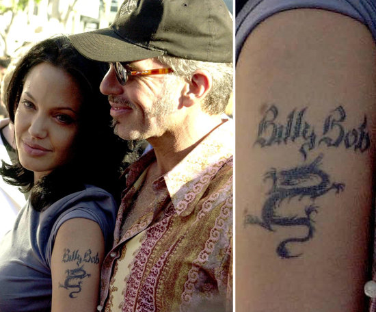 Angelina Jolie added her then-husband Billy Bob Thornton's name above her arm dragon tattoo.
