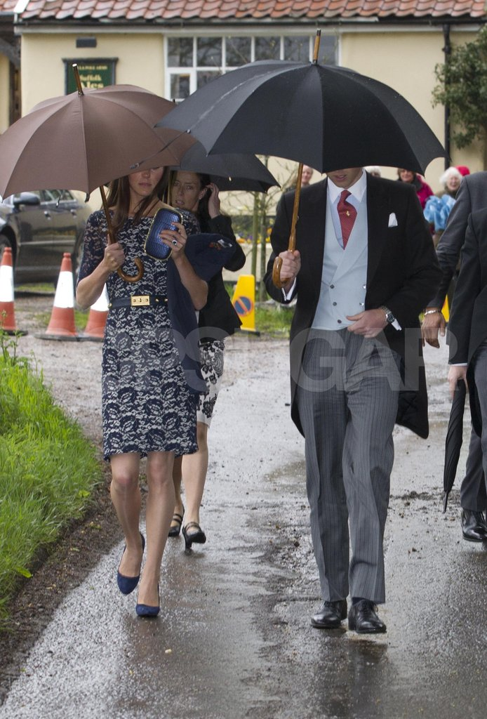 The Duchess of Cambridge, Kate Middleton, with Prince William at Hannah Gillingham and Robert Carter's wedding.