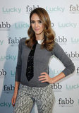 Jessica Alba wore an Alice + Olivia sweater.