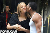 Nick Cannon planted a kiss on his wife Mariah Carey's cheek as they left their hotel in Paris.