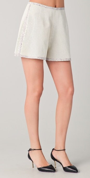 Pair these perforated shorts with a sexy top and heels for a night out with the girls.  Rachel Roy Perforated Leather Shorts ($398)