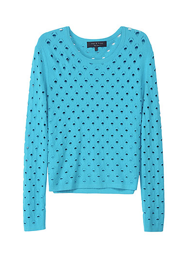 We'd throw this bright sweater over a sports bra or colorful tank.  Rag & Bone Eyelet Sweater ($195)