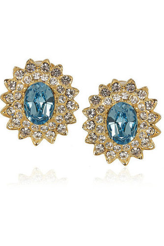Kenneth Jay Lane | 22-karat gold-plated Swarovski crystal earrings | NET-A-PORTER.COM