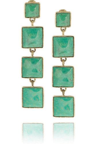 Aurélie Bidermann Cherokee gold-plated turquoise clip earrings NET-A-PORTER.COM