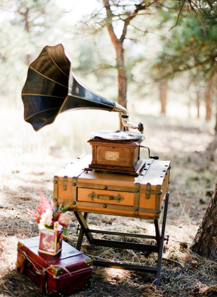 Phonograph and Vintage Luggage