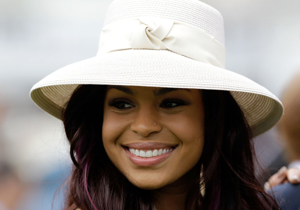 Singer Jordin Sparks wore a simple white hat at the 2011 race.