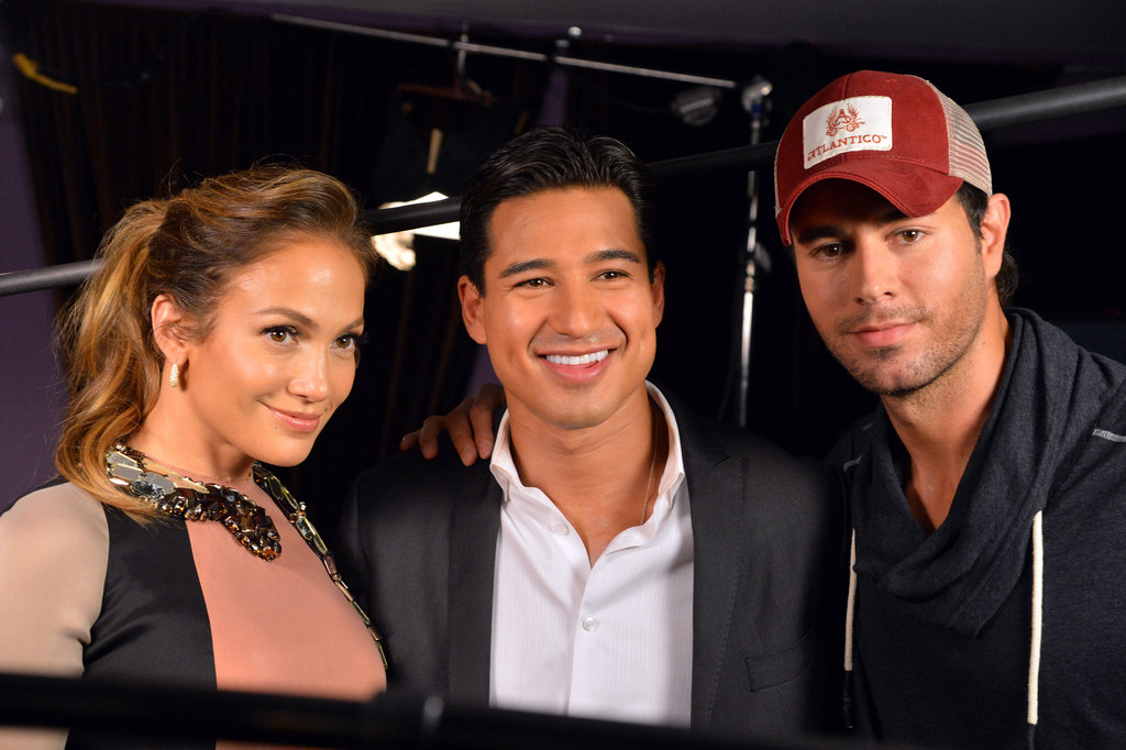 Jennifer Lopez posed with Mario Lopez and Enrique Iglesias at a press conference in LA to announce her tour.