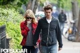 Emma Stone and Andrew Garfield held hands while walking together in New York City.