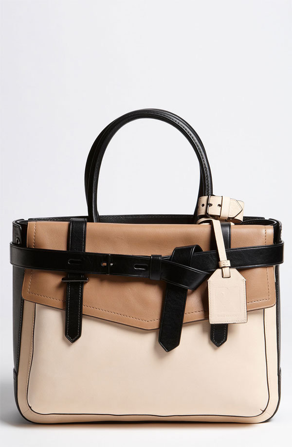 "Looped belts and neutral colorblocking make this modern, structured satchel a must have. Reed Krakoff ""Boxer"" Tricolor Leather Satchel ($1,090)"
