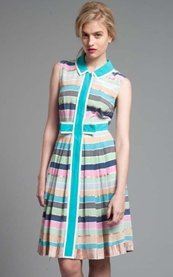 Tracy Reese Rainbow Stripes Contrast Shirt Dress