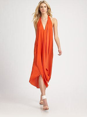BCBGMAXAZRIA Asymmetrical-Hem Halter Dress ($218)