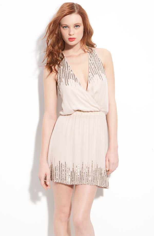 Parker Sequin Embellished Silk Surplice Dress ($352)