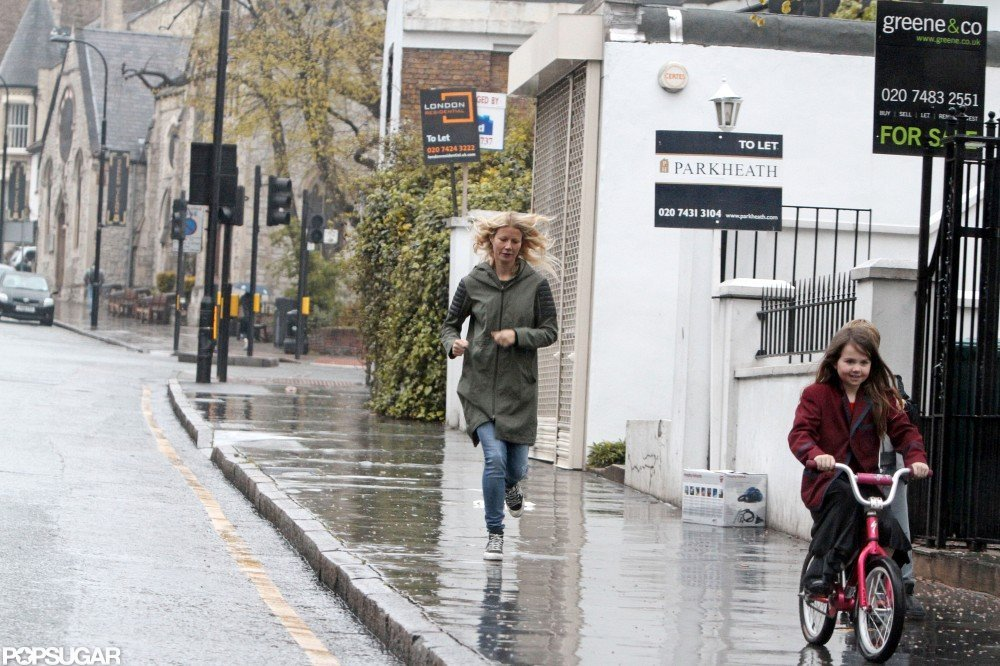 Gwyneth Paltrow walked home in London with kids Apple Martin and Moses Martin.