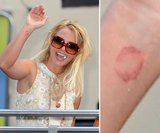 Britney Spears has a permanent kiss on her right inner wrist.