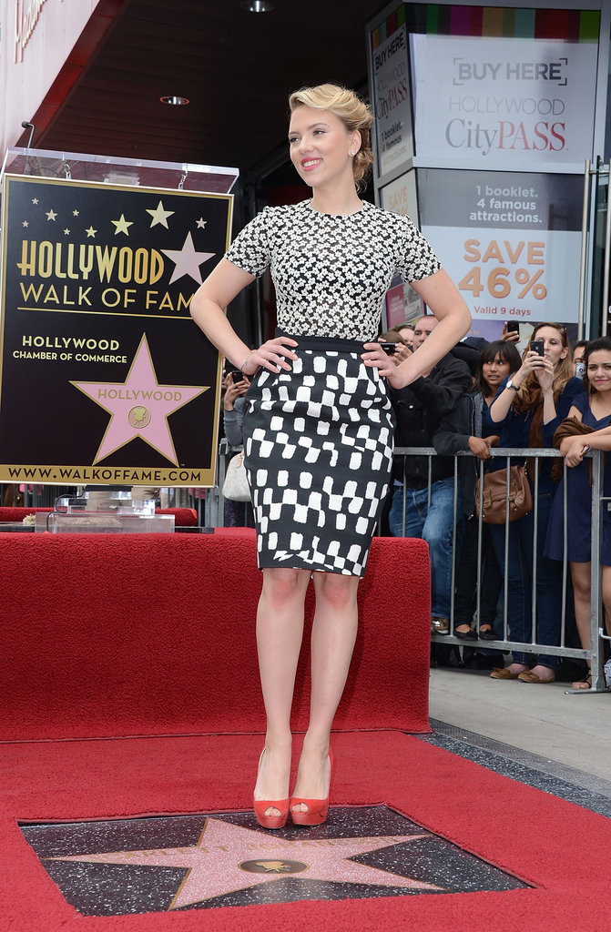Scarlett Johansson was stunning in black and white as she received her own star on the Hollywood Walk of Fame.