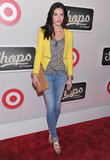 Hilary Rhoda sported a bright yellow Zara blazer to The Shops at Target launch party in NYC.