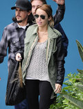 Milely Cyrus wore a leather-accented jacket.