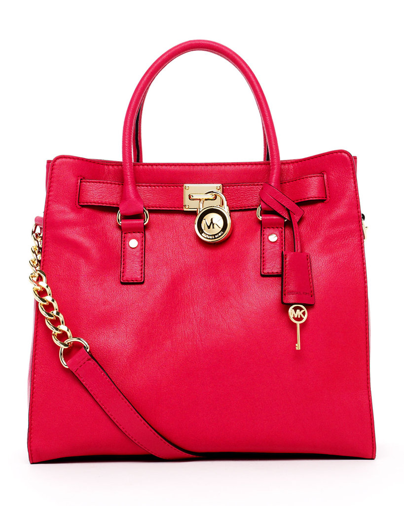 Lacquer pink leather pops against golden hardware for a punchy Summer look. MICHAEL Michael Kors Hamilton Large Tote ($348)