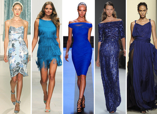 Designers showed blue hues from all ends of the spectrum. From left to right: Erdem, Issa, Monique Lhuillier, Elie Saab, and Bottega Veneta