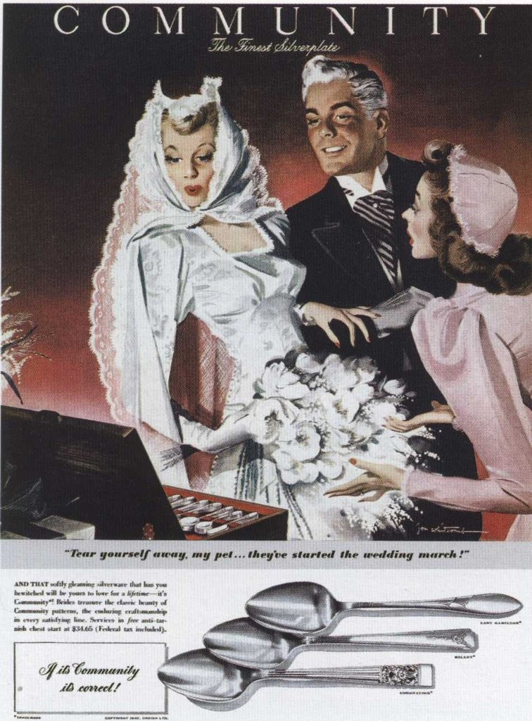 """Tear yourself away, my pet,"" I know the silverware is more interesting than marrying me."
