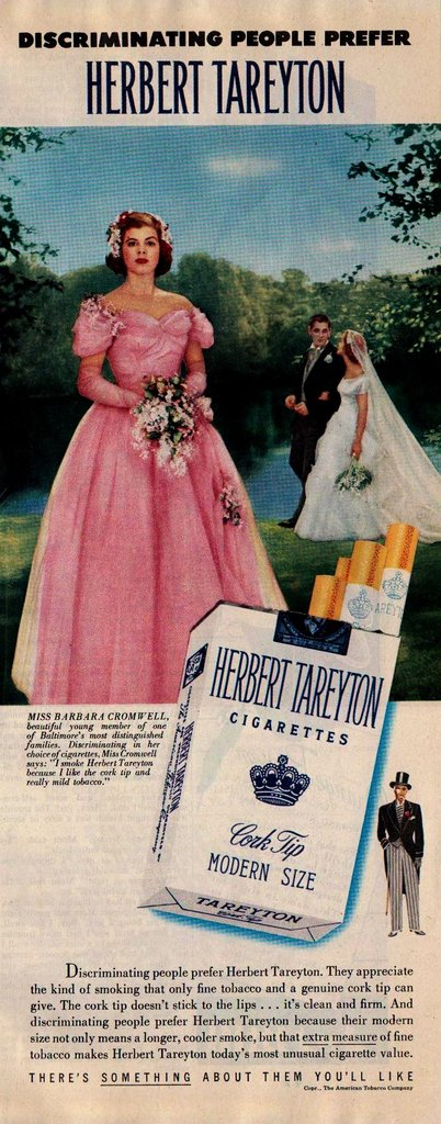 """Discriminating"" bridesmaids smoke Herbert Tareyton ciggies."
