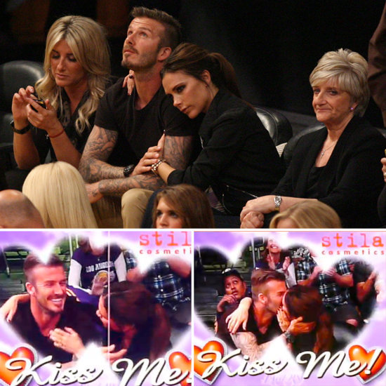 Birthday Boy David & Victoria Beckham Celebrate His 37th With Kisses at the Lakers Game