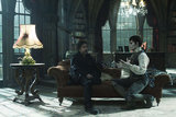 Johnny Depp and director Tim Burton on the set of Dark Shadows.  Photo courtesy of Warner Bros.