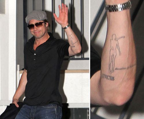 Brad Pitt hasn't commented on the meaning behind the iceman tattoo on his left forearm.