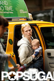 January Jones and baby Xander got out of a cab in NYC.