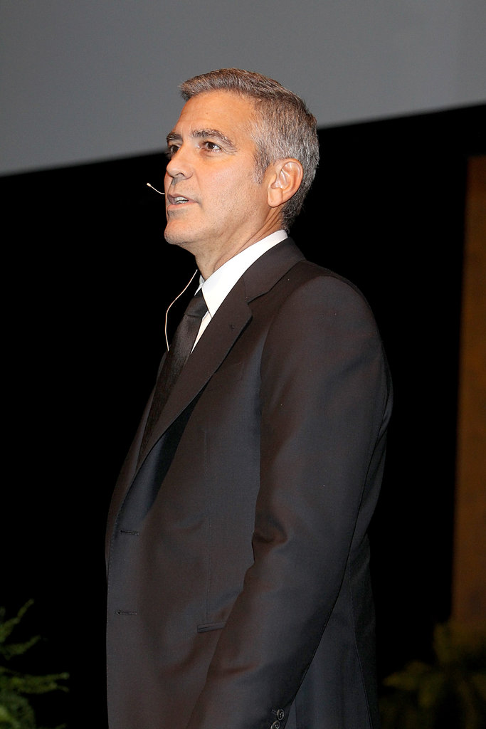 George Clooney wore a black suit for an interview segment in Texas.