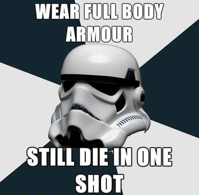 The social, shareable Stormtrooper meme mocks the stormtroopers' lack of power. Stormtroopers? Pshaw, more like light-drizzle-troopers.