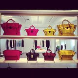 A wall of lust-inducing Phillip Lim totes at the designer's showroom.