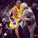Justin Timberlake gave Kobe Bryant a high five as he ran down the court.  Source: Instagram user lakers